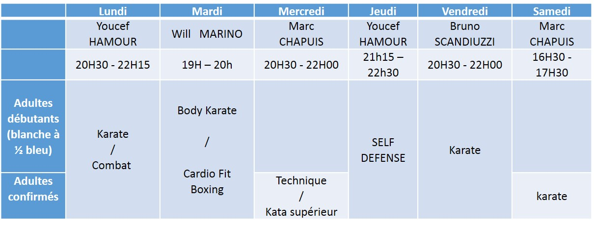 horaire adultes 2017 - 2018